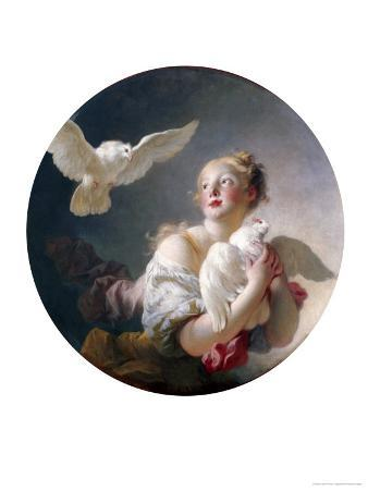 Girl Holding a Dove (Said to Be Portrait of Marie-Catherine Colombe)