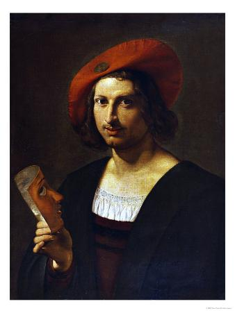 Portrait of a Young Man Wearing a Wide-Brimmed Red Hat with a Badge, and Holding a Mask