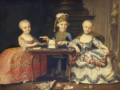 A Boy in Ornate Blue Costume Building a House of Cards, with Two Girls in Lace-Trimmed Dresses