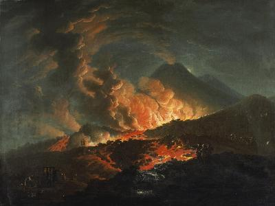 Vesuvius Erupting at Night, Observed by Elegant Gentlemen