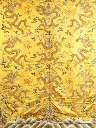 Nine Dragons Chasing Flaming Pearls, Chinese, C 19th Century
