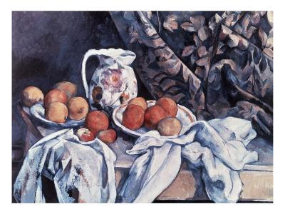 Curtain, Carafe, and Fruit (Still Life with Drapery)