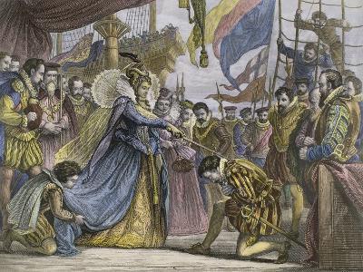 Queen Elizabeth Knighting Sir Francis Drake Aboard