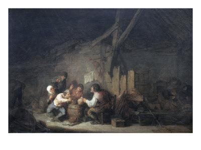 Peasants Drinking and Smoking in an Interior