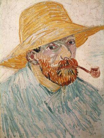 Self-Portrait with Pipe and Straw Hat, c.1888
