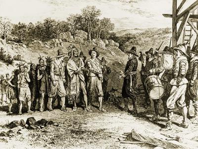 The Pilgrims Receiving Massacoit, 1621
