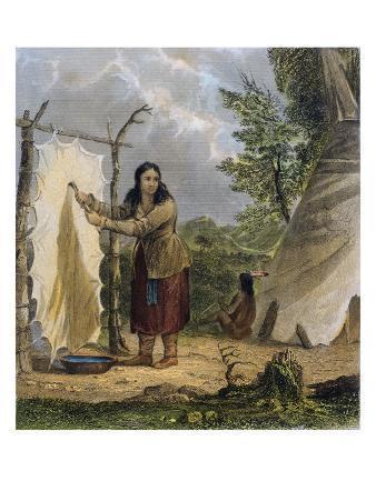 Indian Woman Dressing a Buffalo Skin