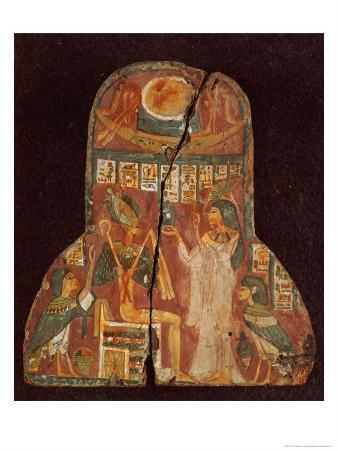 Lid of the Coffin of the Singer, Toarnemiherti, Showing the Deceased Offering Incense to Osiris