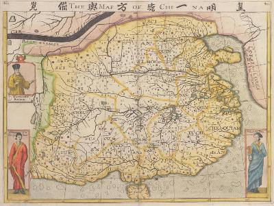 Map of China with Inset Portraits of Matteo Ricci and Two Chinese Costumed Figures, circa 1625-26