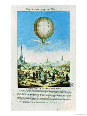 View of Annonay in Vivarais and the First Flight of the Mongolfier Brother's Hot-Air Balloon