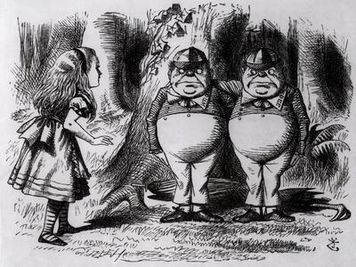 "Tweedledum and Tweedledee, Illustration from ""Through the Looking Glass,"" by Lewis Carroll, 1872"