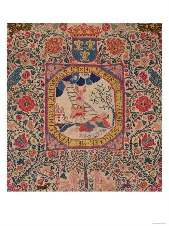 Handknitted Carpet Depicting Jacob's Dream, Alsace, 1781