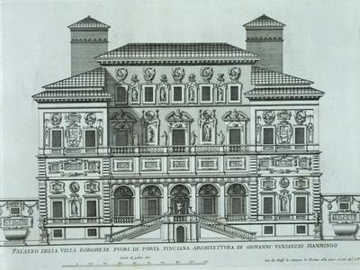View of the Facade of Villa Borghese, Rome