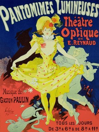"""Reproduction of a Poster Advertising """"Pantomimes Lumineuses"""" at the Musee Grevin, 1892"""