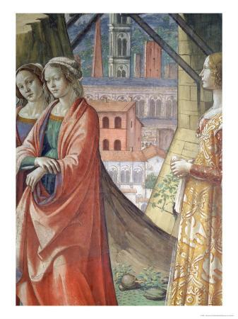 The Visitation, Detail of the City and Women, from the Life of St. John the Baptist, 1490