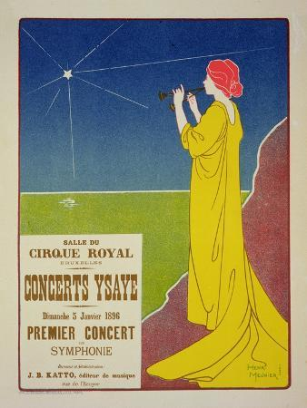 """Reproduction of a Poster Advertising the """"Ysaye Concerts,"""" Salle Du Cirque Royal, Brussels, 1895"""