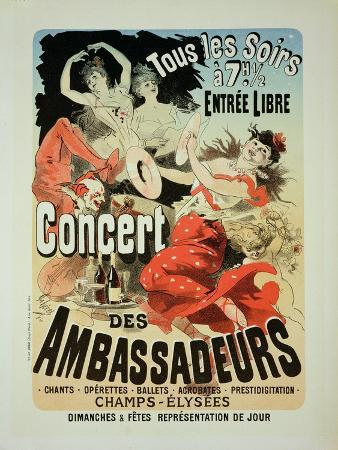 "Reproduction of a Poster Advertising an ""Ambassadors' Concert,"" Champs Elysees, Paris, 1884"