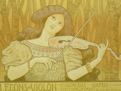 "Reproduction of a Poster Advertising ""Violin Lessons,"" Rue Denfert-Rochereau, Paris, 1898"