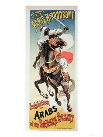 """Reproduction of a Poster Advertising an """"Exhibition of Arabs of the Sahara Desert"""""""