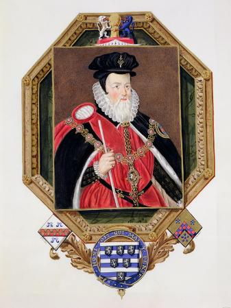 Portrait of William Cecil (1520-98) 1st Baron Burghley from Memoirs of the Court of Queen Elizabeth