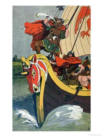 Viking Blowing the Horn on a Longship as it Approaches the Norse Coast