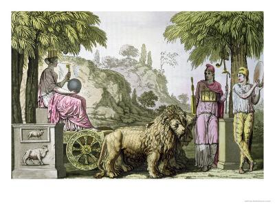 """Cybele on Her Chariot and Attis, from """"Le Costume Ancien Ou Moderne"""""""