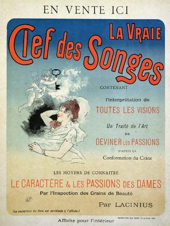 "Poster Advertising the Book ""La Vraie Clef Des Songes"" by Lacinius, 1892"