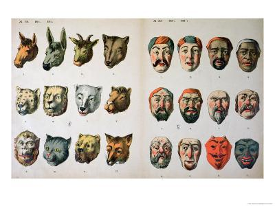 Human and Animal Carnival Masks, Page from a Manufacturer's Catalogue from Mannebach, Thuringe