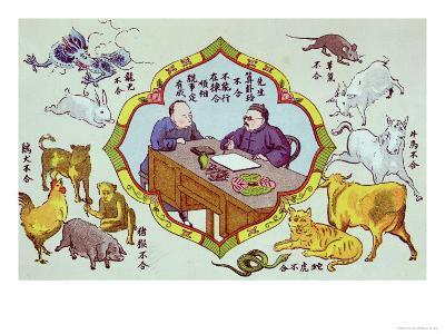 Fortune Telling Scene and Signs of the Chinese Zodiac