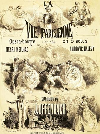 """Poster Advertising """"La Vie Parisienne,"""" an Operetta by Jacques Offenbach 1886"""