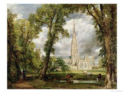 View of Salisbury Cathedral from the Bishop's Grounds, circa 1822