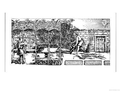 "Arbour Being Built as a Shade Against the Sun, from ""The Gardener's Labyrinth,"" 1586"
