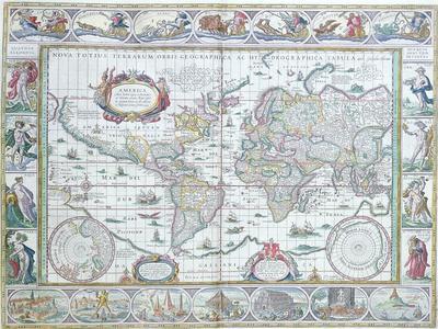 """World Map, from """"Le Theatre Du Monde"""" or """"Nouvel Atlas,"""" 1645"""