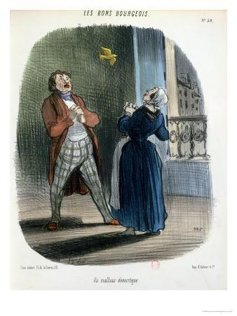 """A Domestic Incident, from """"Les Bons Bourgeois,"""" circa 1835-40"""