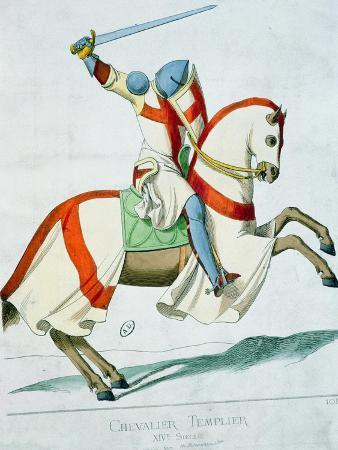 Illustration of a Knight Templar, after a 14th Century Manuscript