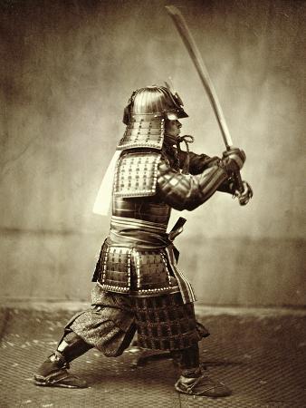 Samurai with Raised Sword, circa 1860