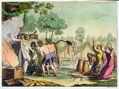 Ancient Celts or Gauls Sacrificing a Cow, circa 1800-18