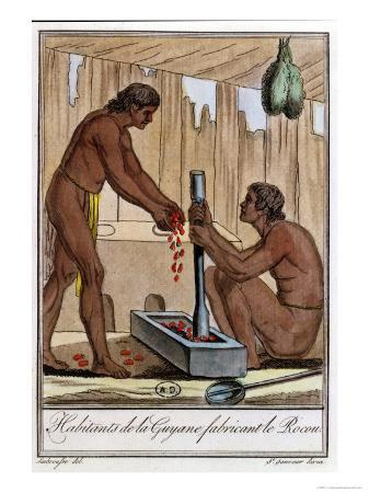 """Inhabitants of French Guyana Preparing Annatto, from """"Encyclopedie Des Voyages"""""""