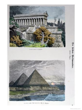 Temple of Diana at Ephesus and Pyramids of Giza, from a Series of the Seven Wonders of the World