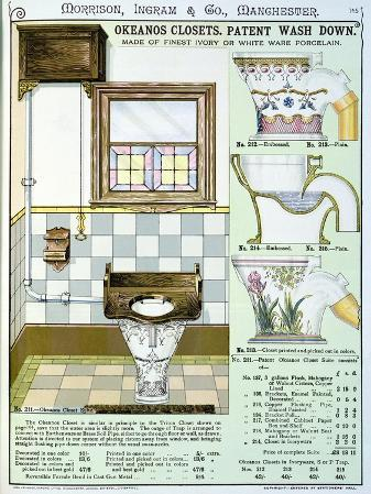 Okeanos Closets from a Catalogue of Sanitary Wares Produced by Morrison, Ingram & Co., Manchester