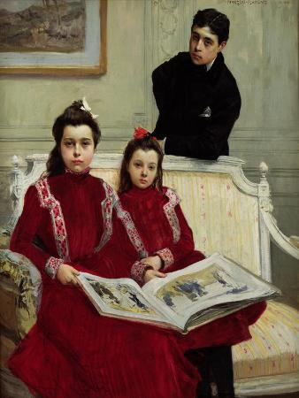 Family Portrait of a Boy and His Two Sisters, 1900