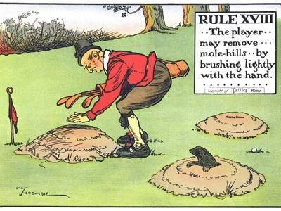 Rule XVIII: the Player...May Remove...Mole-Hills...By Brushing Lightly with the Hand...