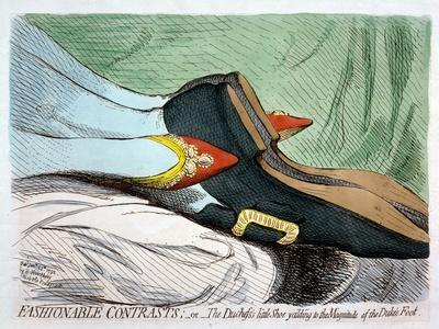 Fashionable Contrasts, or the Duchess's Little Shoe Yielding to the Magnitude of the Duke