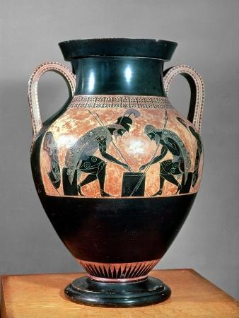 Amphora Decorated in Black-Figure Painting Signed by Exekias (c. 540 BC) Showing Ajax and Achilles