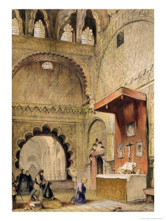 """Cordoba: Monk Praying at a Christian Altar in the Mosque, from """"Sketches of Spain"""""""