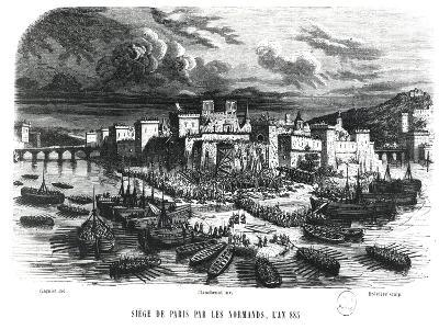 Norsemen Besieging Paris in 885, 19th Century