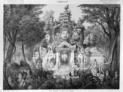 "Doorway of Angkor Thom, Illustration from ""Atlas Du Voyage D'Exploration En Indochine, 1866-68"""