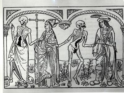 Death Taking the Bishop and the Nobleman, from the Danse Macabre, Published Paris, 1485