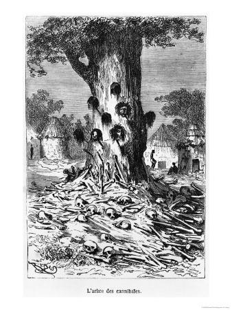 """The Tree of Cannibals, Illustration from """"Five Weeks in a Balloon"""" by Jules Verne Paris, Hetzel"""