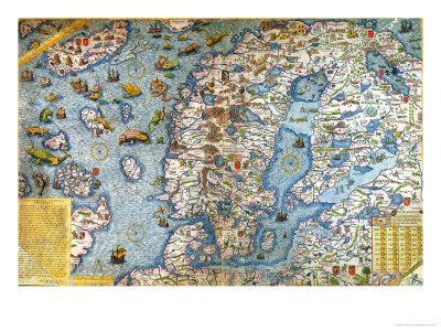 Scandinavia, Detail from the Carta Marina Da Olaus Magnus, 1572